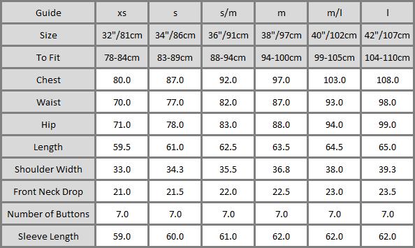 K1 Cashmere Cardigan Size Chart