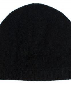 Ribbed Hem Hat - 100% Cashmere - Black
