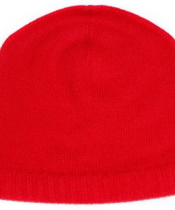 Ribbed Hem Hat - 100% Cashmere - Bright Red