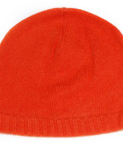 Ribbed Hem Hat - 100% Cashmere - Papaya