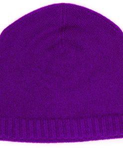 Ribbed Hem Hat - 100% Cashmere - Blackberry Cordial