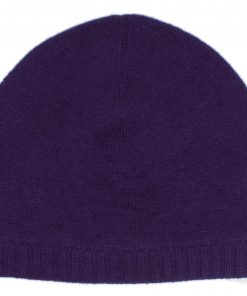 Ribbed Hem Hat - 100% Cashmere - Nightshade