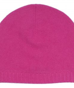 Ribbed Hem Hat - 100% Cashmere - Very Berry