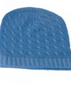 Cabled Hat - 100% Cashmere - Parisian Blue