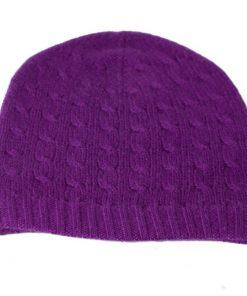 Cabled Hat - 100% Cashmere - Purple