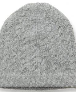 Cabled Hat - 100% Cashmere - Melange Light Grey