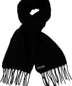 Cable Knit Scarf - 100% Cashmere - 35x180cm - Black