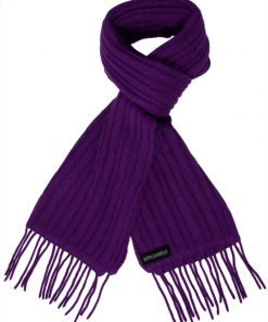 Cable Knit Scarf - 100% Cashmere - 35x180cm - Royal Purple