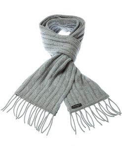 Cable Knit Scarf - 100% Cashmere - 35x180cm - Melange Light Grey