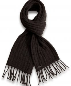 Cable Knit Scarf - 100% Cashmere - 35x180cm - Melange Dark Grey