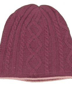 Cable Twist Hat - 100% Cashmere - Wild Ginger mp44 / Quartz Pink mp38