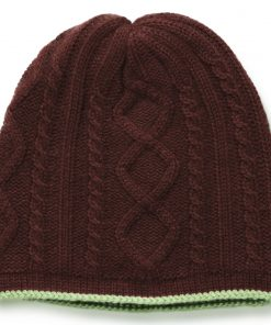 Cable Twist Hat - 100% Cashmere - Coffee Bean mp72 / Grape Leaf mp84