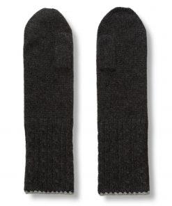 Cable Twist Mittens - 100% Cashmere - Light Grey / Dark Grey
