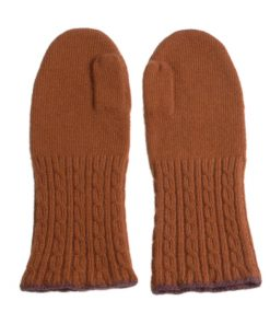 Cable Twist Mittens - 100% Cashmere - Burnt Orange
