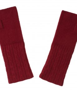 Cable Wristwarmer - 100% Cashmere - Rio Red