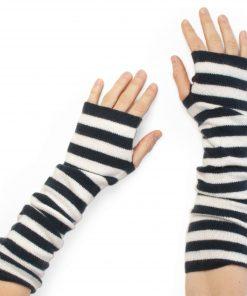 Stripey Wristwarmers - 100% Cashmere - Dark Navy/White