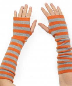 Stripey Wristwarmers - 100% Cashmere - Harvest Pumpkin/Melange Light Grey