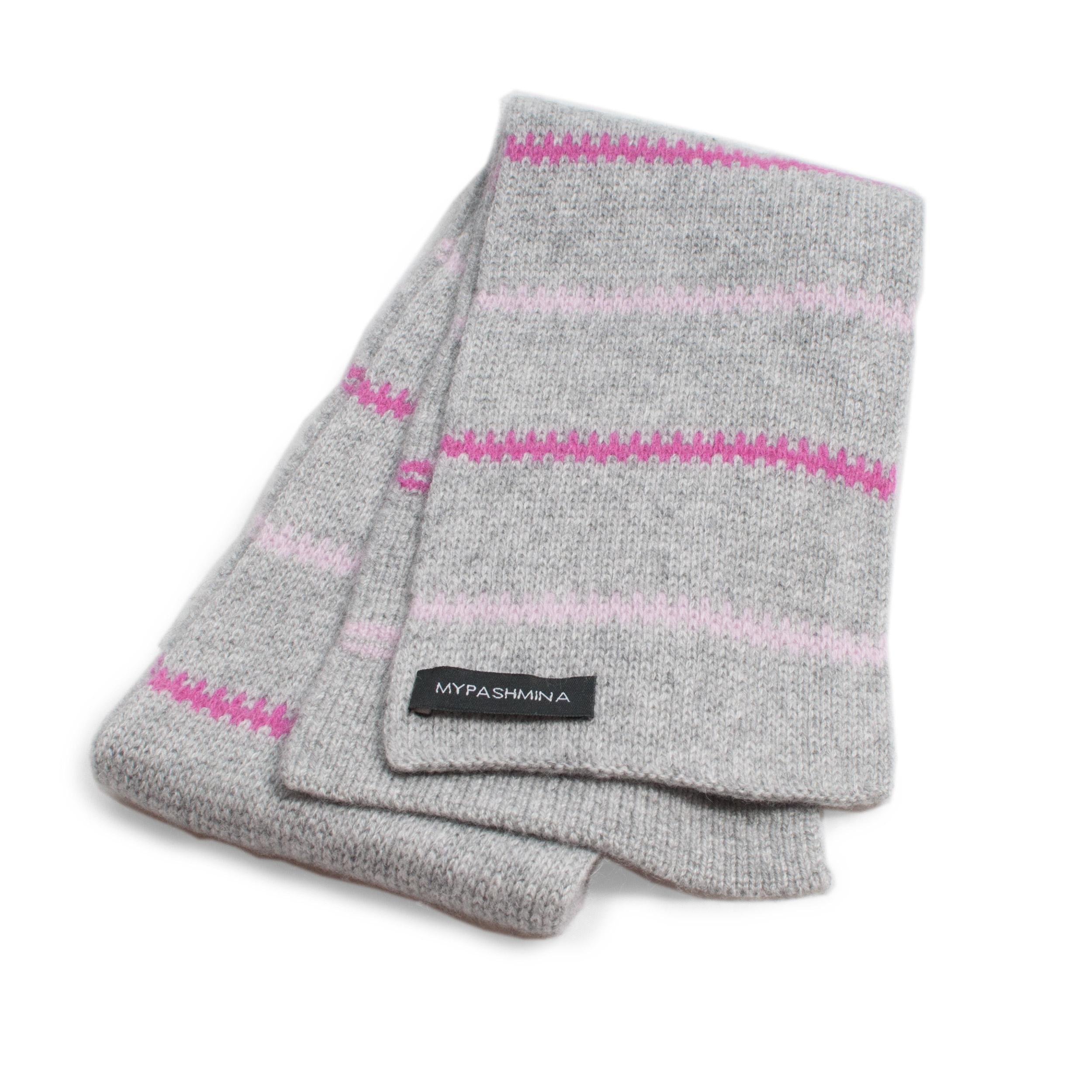 Buy Pippi-halsduk i kashmir – grå rosa Online - Mypashmina.se bf49ea918df77
