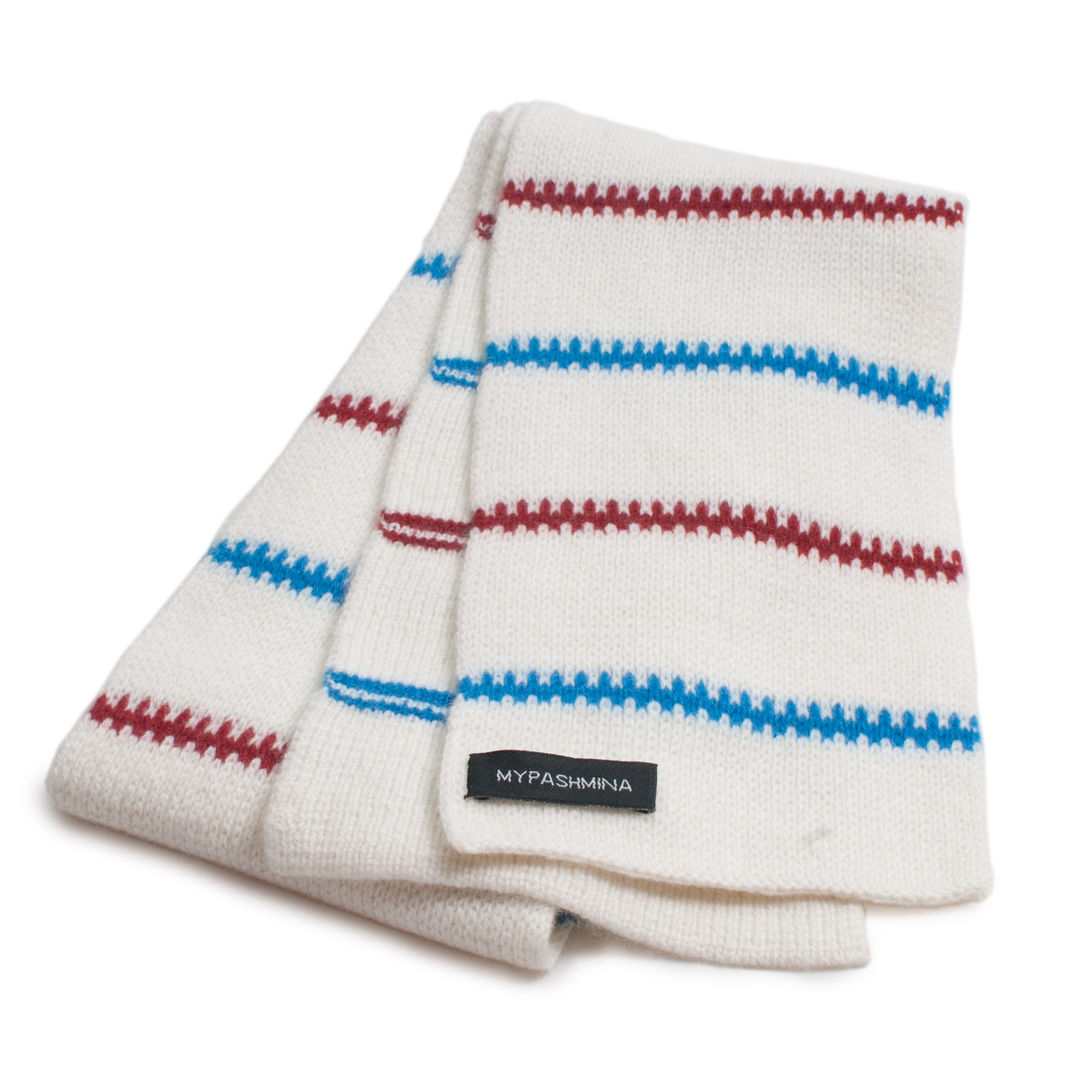 Buy Pippi-halsduk i kashmir – vit röd blå Online - Mypashmina.se c544d0f2ac681