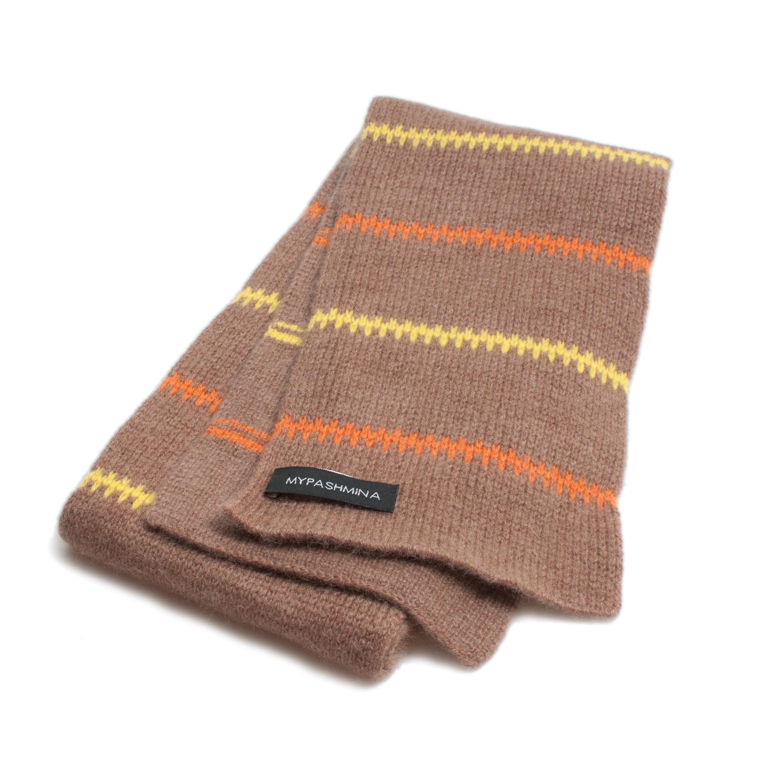 Buy Pippi-halsduk i kashmir - brun orange gul Online - Mypashmina.se ed296500f2f7a