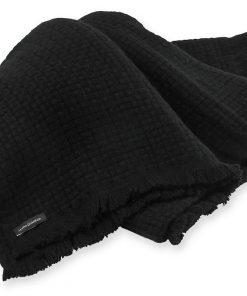 6ply Boxweave Blanket - 100% Cashmere - 140x180cm - Black