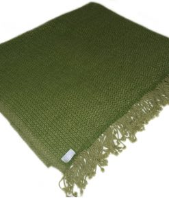 6ply Boxweave Blanket - 100% Cashmere - 140x180cm - Willow Bough / Mosstone