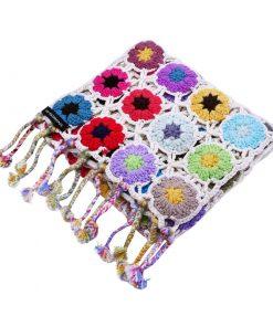 Crochet Knit Scarf - 100% Cashmere - 25x150cm - HKF02