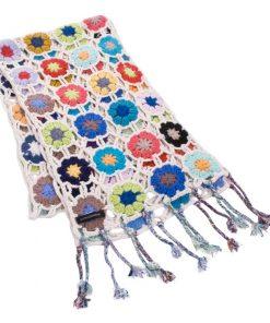 Crochet Knit Scarf - 100% Cashmere - 25x150cm - HKF209