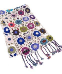 Crochet Knit Scarf - 100% Cashmere - 25x150cm - HKF226