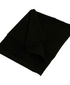 Pashmina Large Scarf - 45x200cm - 70% Cashmere/30% Silk - Black
