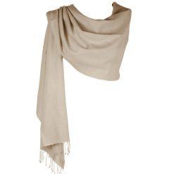 Pashmina Large Scarf - 45x200cm - 70% Cashmere/30% Silk - Cobblestone