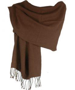 Pashmina Large Scarf - 45x200cm - 70% Cashmere/30% Silk - Coffee Bean