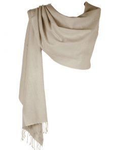 Pashmina Large Scarf - 45x200cm - 70% Cashmere/30% Silk - Sand Shell