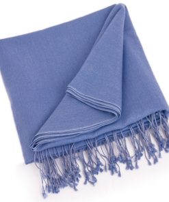 Pashmina Large Scarf - 45x200cm - 70% Cashmere/30% Silk - Parisian Blue