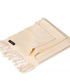 Pashmina Shawl - 90x200cm - 70% Cashmere / 30% Silk - Winter White