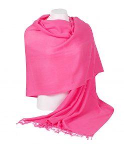 Pashminasjal - 70x200cm - 100% Cashmere - Hot Pink