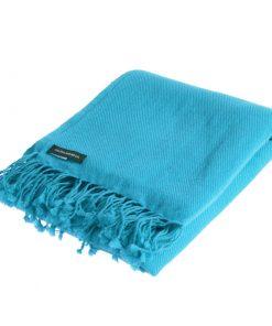 Pashmina Shawl - 90x200cm - 100% Cashmere - Blue Mist