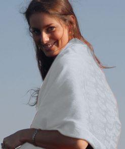 Pashmina Stole - 70x200cm - 7030 - Jacquard - White