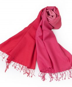 Shaded Pashmina - 70x200cm - 70%Cashmere / 30%Silk - Bright Rose and Crimson