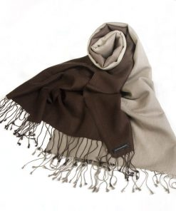 Shaded Pashmina - 70x200cm - 70%Cashmere / 30%Silk - Coffee Bean and Cobblestone
