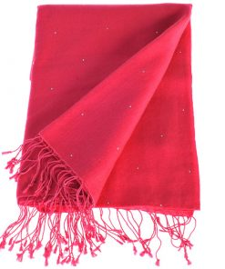 Swarovski Crystals Pashmina Stole - 70x200cm - 70% Cashmere / 30% Silk -  Bright Rose