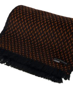 Herringbone Scarf - 25x160cm - 100% Cashmere - Black and Gingerbread