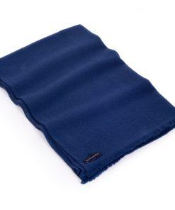 Herringbone Weave Pashmina - 100% Cashmere - 60x190cm - Open Fringe - Insignia Blue
