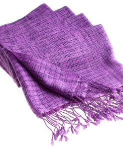 Double Ikat Stole - 66x203cm - 100% Cashmere - Tassels - Amethyst mp48  Blackberry Cordial mp53