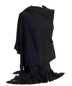 Frilled Edge Shawl - 50% Cashmere / 50% Silk - 70x200cm - Black mp09