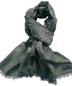 Zig-Zag Double Ikat Stole - 100% Cashmere - Green/Grey - 70x200cm