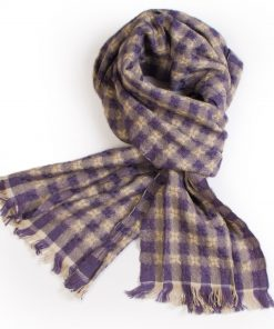 Rustic Basket Weave Scarf - 32x158cm - 100% Cashmere - Heather/Natural