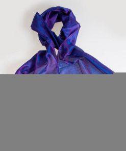 Varanasi Silk Scarf - 24x180cm - Jacquard - Purple / Blue