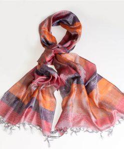 Varanasi Silk Scarf - 55x180cm - Stripey - Red Orange Purple