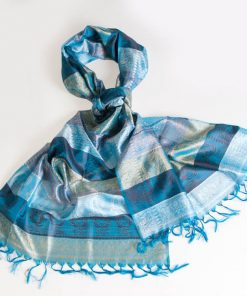 Varanasi Silk Scarf - 55x180cm - Stripey - Light & Dark Turquoise